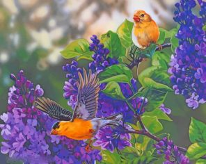 Yellow Birds On Flowers paint by numbers