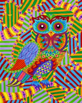 Abstract Colorful Owl  paint  by numbers