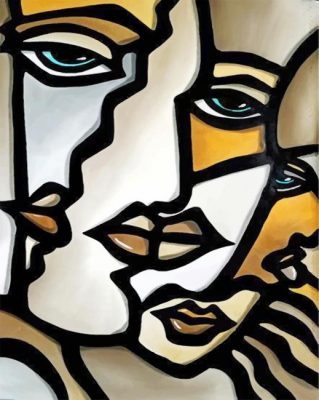 Abstract Cubism Faces paint by numbers