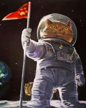 Aesthetic Astronaut Cat paint by number