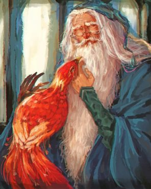 albus dumbledore and Fawkes paint by number