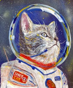 Astronaut Cat piant by numbers