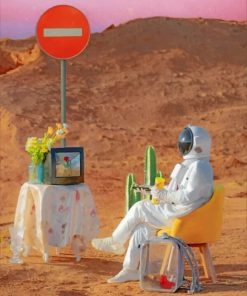 Astronaut Watching Tv Paint by numbers
