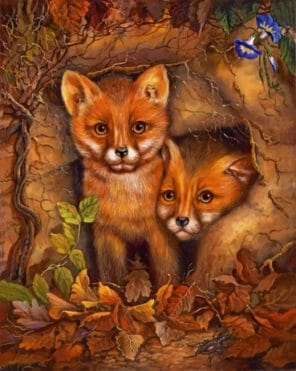 Baby Foxes paint by numbers