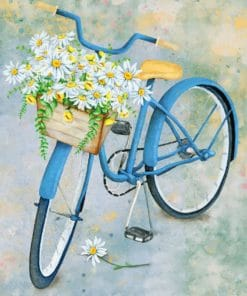 blue bicycle with flowers paint by number