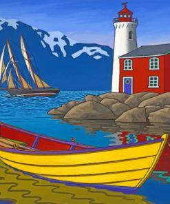Lighthouse And Boat Paint by numbers