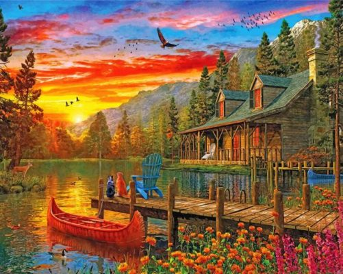 Cabin Evening Sunset paint by numbers