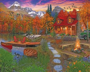 Cabin In The Fall paint by numbers