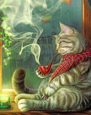 cat smoking paint by number