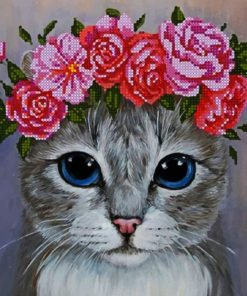 Cat Wearing Flowers paint by numbers