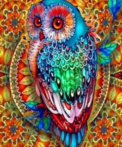 Colorful Mandala Owl paint by numbers