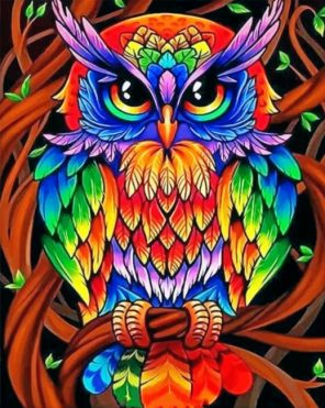 Colorful Owl paint by numbers