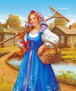 Countryside Woman Paint by numbers