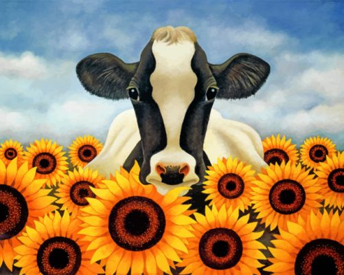 cow with sunflowers paint by numbers