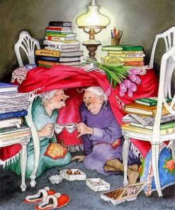 crazy old ladies friends paint by numbers