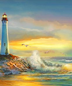 Sunset Crisp Point Lighthouse Paint by numbers