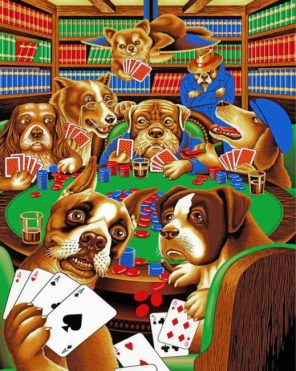 Dogs Playing Poker Paint by numbers