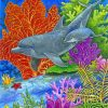 dolphins in coral reef paint by number