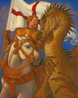 England Warrior Vs Dragon paint by numbers