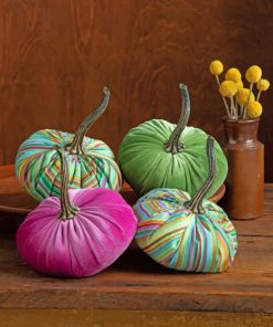 Fabric Halloween Pumpkins Paint by numbers