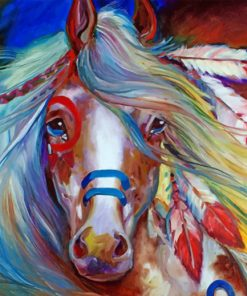 Fearless Indian War Horse paint by numbers