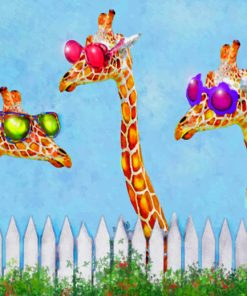 Giraffes With Colorful Sunglassesv paint by numbers
