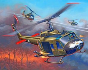 War Helicopters paint by numbers