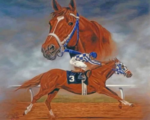 Horse Race Illustration Paint by numbers