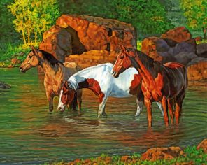 horses at the pond paint by numbers