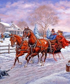 horses sleigh paint by numbers