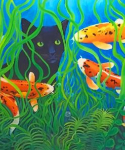 Koi Pond Black Cat paint by numbers