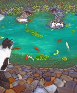 Koi Pond Cat Paint by numbers