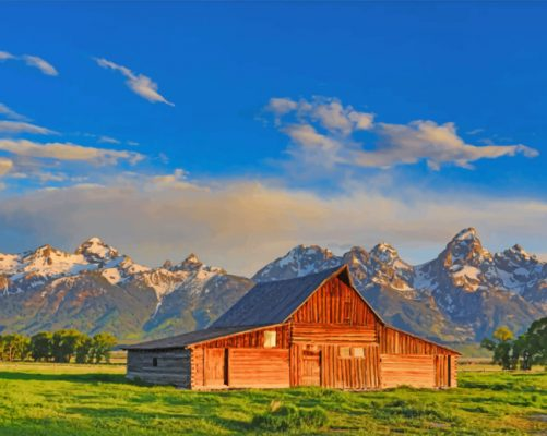 Milton Barn In Jackson Hole Paint by numbers