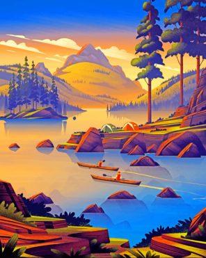 nature landscape illustration paint by numbers