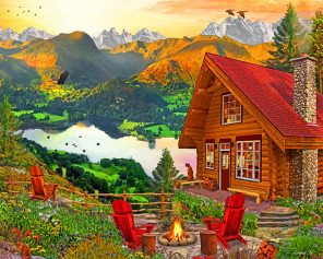 Peaceful Cabin paint by numbers