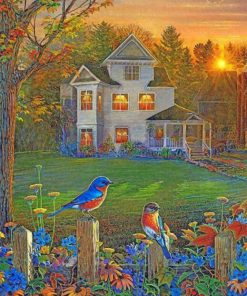 peaceful-house-and-blue--birds-paint-by-numbers