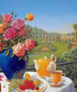 Romantic Tea Set paint by numbers