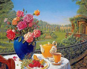 Romantic Tea Set paint by numbers