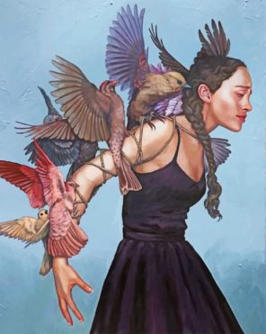 Sad Woman And Birds paint by numbers