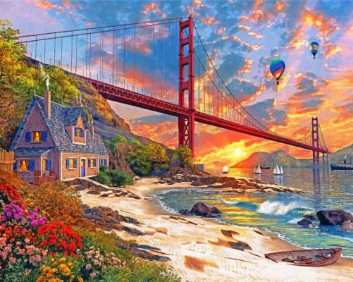 sunset at golden gate paint by numbers
