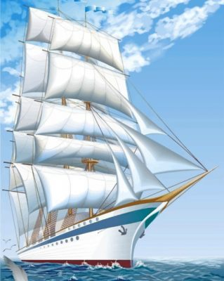 white-ship-paint-by-numbers