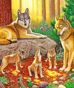 wolf family paint by numbers