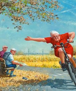 Old Woman Driving A Bike paint by numbers