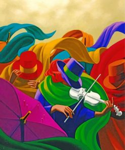 Abstract Violinists Paint by numbers