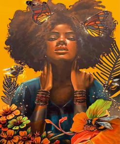 African Woman And Butterflies paint by numbers