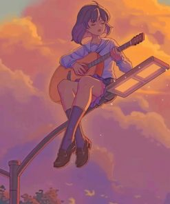 Anime Guitarist Girl paint by number