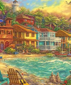 Beach Houses Island paint by numbers