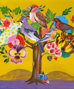 Birds On Tree Art Paint by numbers