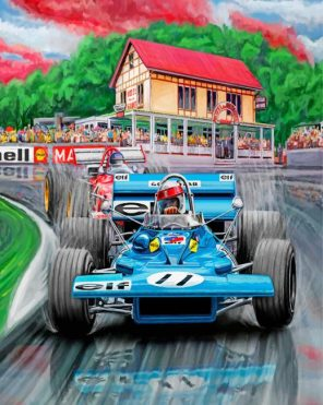 Blue Formula 1 Car paint by numbers