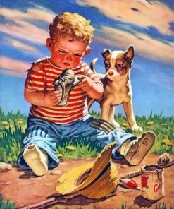 Boy And Dog Paint by numbers